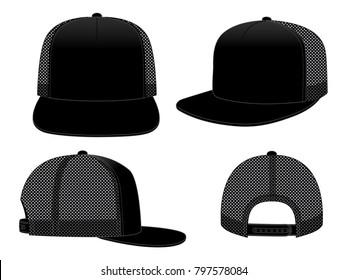 Black net hip hop hat & snap back