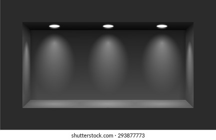 Black niche for presentations with three light lamps