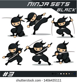 Black ninja set with six different poses