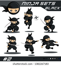 Black ninja set with six new different poses