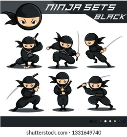 black ninja sets. wit 6 different poses of ninja