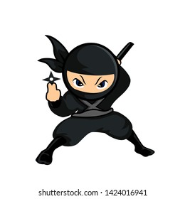 black ninja stand with one had holding a dart and other holding sword 5