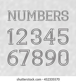 Black numbers of lines on a gray textured background. Swirly font in art deco style.