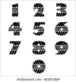 Black numbers silhouette in tire tracks form. eps10
