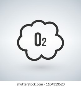 Black o2 cloud oxygen icon, vector illustration isolated on white background.