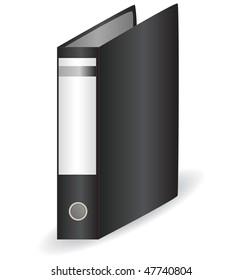 Black office folder for papers. vector illustration