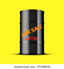 Black oil barrel with an inscription sale, isolated on a yellow background.