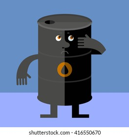Black oil barrel tin  doubting. Flat style vector illustration. Funny cartoon character business design for the oil producing and refining companies
