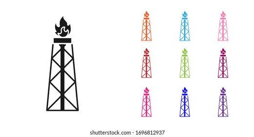 Black Oil rig with fire icon isolated on white background. Gas tower. Industrial object. Set icons colorful. Vector Illustration