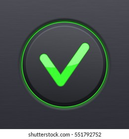 Black OK button with green check mark. Vector 3d illustration.