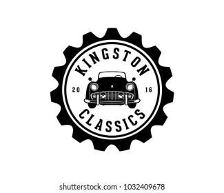 Black Old Kingston Classic Car with Gear Factory Illustration Symbol Service Logo Vintage Vector