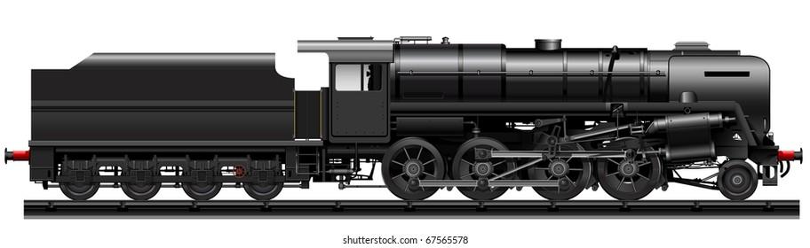 the black old steam locomotive