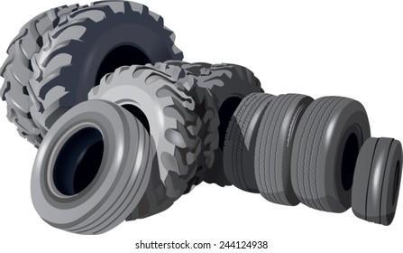 Black old tires on white background, vector illustration