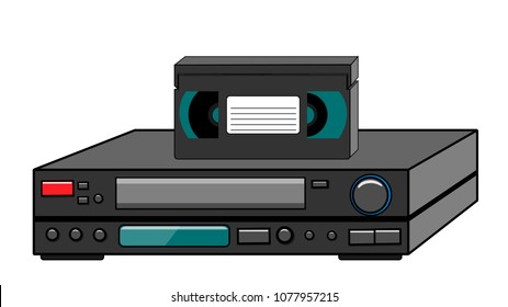 Black old vintage retro vintage hipster vintage video recorder with video cassette standing on a VCR for watching movies, videos from the 80's, 90's on a white background. Vector illustration.