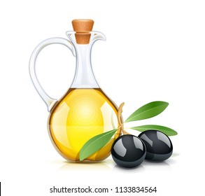 Black olive oil bottle with cork. Glass jug for liquid ingredient. Oils capacity. Product for cooking. Isolated white background. EPS10 vector illustration.