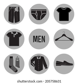 Black on grey vector set of clothes for men icons