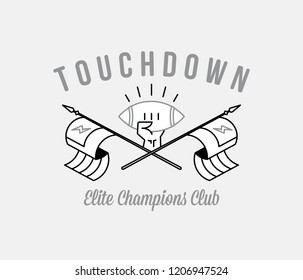 Black on white American Football touchdown champions is a vector illustration about sport