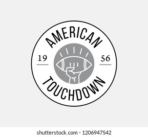 Black on white American Football touchdown badge is a vector illustration celebrating sport champions