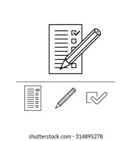 Black on white checklist with pencil icon