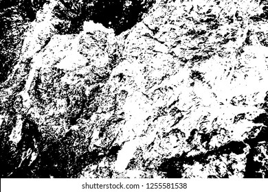 Black on white grungy texture. Weathered concrete surface. Distressed vector overlay for vintage effect. Abstract grainy surface. Uneven texture with frequent grit. Material design template