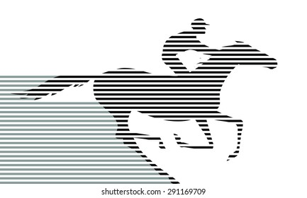 Black on white horserace. Galloping horseback rider. Horseracing winner, vector.