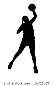 Black on white silhouette of korfball ladies league player girl throwing ball