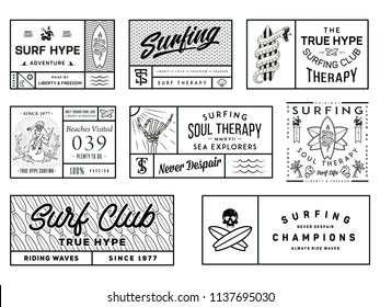Black on white surf badges vol. 2  is a collection of squared vector badge illustrations ready for any use