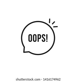 black oops thin line logo. flat stroke style trendy speech bubble logotype graphic art design element isolated on white background. concept of minimal badge of wonder or fail and error