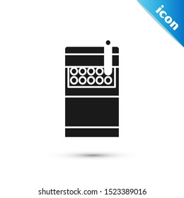 Black Open cigarettes pack box icon isolated on white background. Cigarettes pack.  Vector Illustration