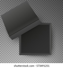 Black open empty squares cardboard box isolated on transparent background. Mockup template for design products, package, branding, advertising. Top view. Vector illustration.