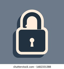 Black Open padlock icon isolated on grey background. Opened lock sign. Cyber security concept. Digital data protection. Safety safety. Long shadow style. Vector Illustration