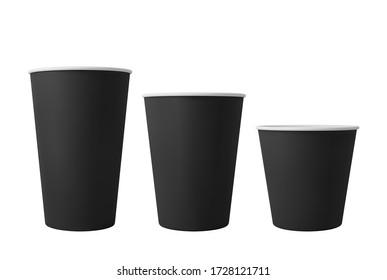 Black open paper coffee cups. Realistic vector mockup