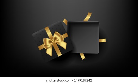 Black open square gift box decorated with bow-ribbon gold. Top view. Vector illustration.