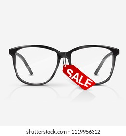 7cb91f54e3 Black optical glasses on white background. Dioptrical Glasses. Red sale  banner. Vector Illustration