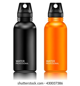 Black and Orange aluminum reusable water bottle isolated on a white background.