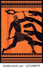 black and orange ceramic with hercules fighting the hydra