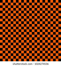 Black and orange checkered background. Chess pattern. Vector illustration