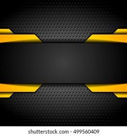 Black and orange design on dark metallic perforated background. Vector contrast illustration