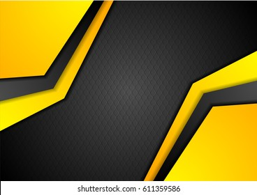 Black and orange geometric corporate design. Vector background