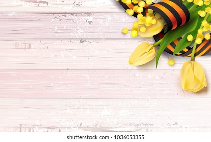 Black and orange ribbon of St George , yellow tulips and mimosa branch  on pink shabby wooden background. May 9 russian holiday victory day. Vector illustration