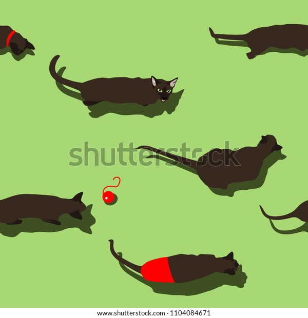 Black oriental cat seamless pattern on green background. Flat style image with shadow. Funny dressed animals walking. Vector illustration. Pet cartoon print, wallpaper and banner.
