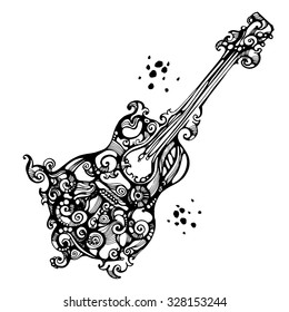 Black ornate acoustics guitar in tattoo style on the white background. Good for music design concepts.