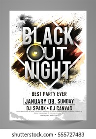 Black Out Night, Stylish Party Celebration Flyer, Banner, Invitation or Pamphlet with abstract brush stroke.