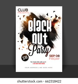 Black Out Party Poster, Banner or Flyer with abstract brush strokes.