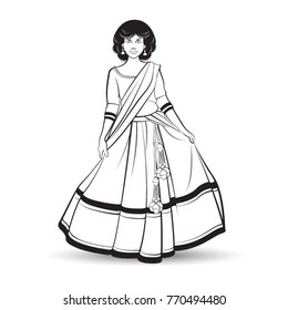 black outline curly short hair girl in Lehenga skirt-vector drawing