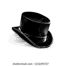 Black outline cylinder hat. Sketch and engraved style. Vector illustration.