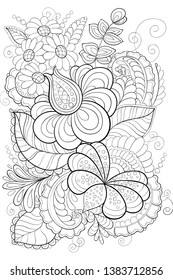Black outline east europian doogle coloring page on a transperent background.Vector zentangle coloring activity for adults.