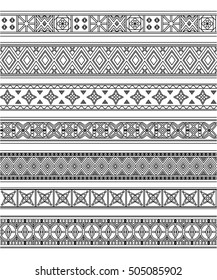 Black outline embroidery borders set with traditional design. Vector illustration