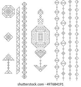 Black outline ethnic South America abstract vector geometric elements set. Mexican, peru or aztec motifs