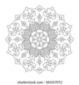 Black outline floral mandala, white background, hand drawn vector illustration